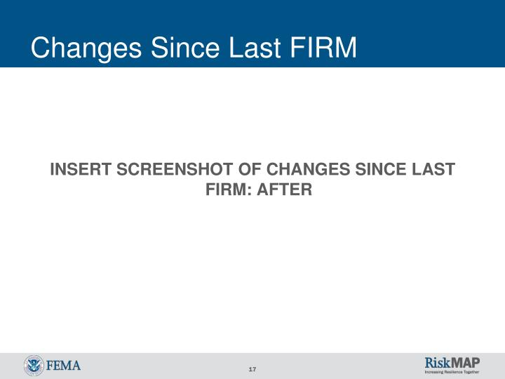 Changes Since Last FIRM
