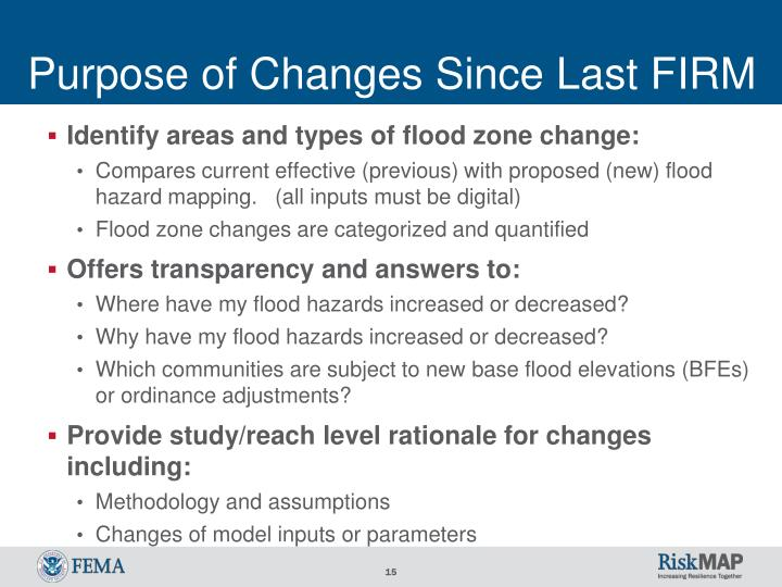Purpose of Changes Since Last FIRM