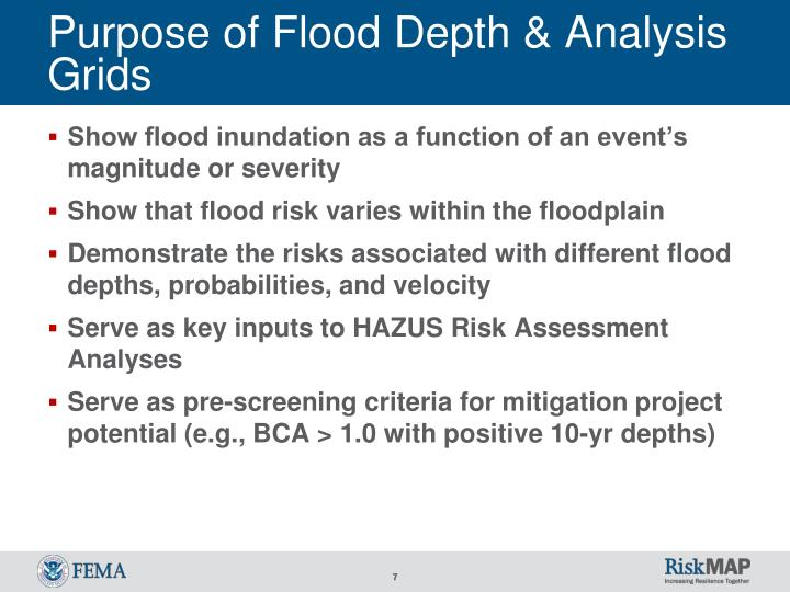 Purpose of Flood Depth & Analysis Grids