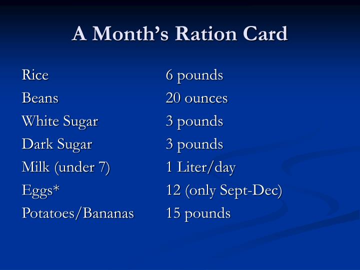 A Month's Ration Card
