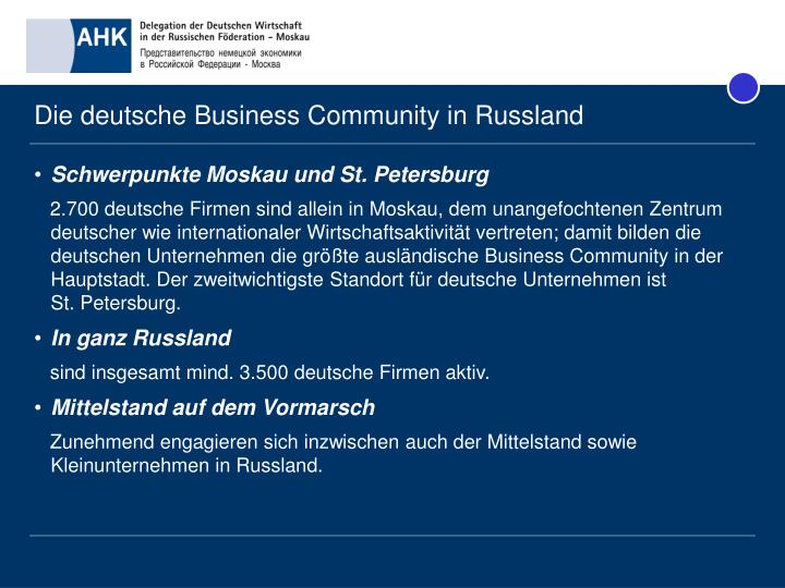 Die deutsche Business Community in Russland