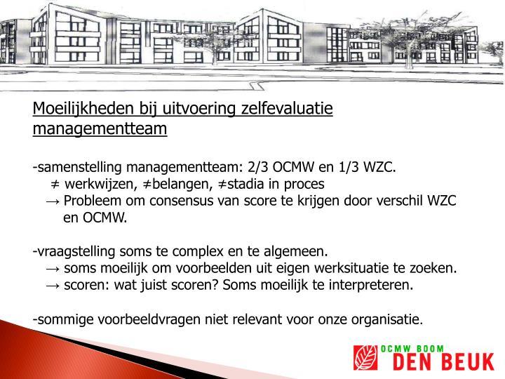 Moeilijkheden bij uitvoering zelfevaluatie managementteam