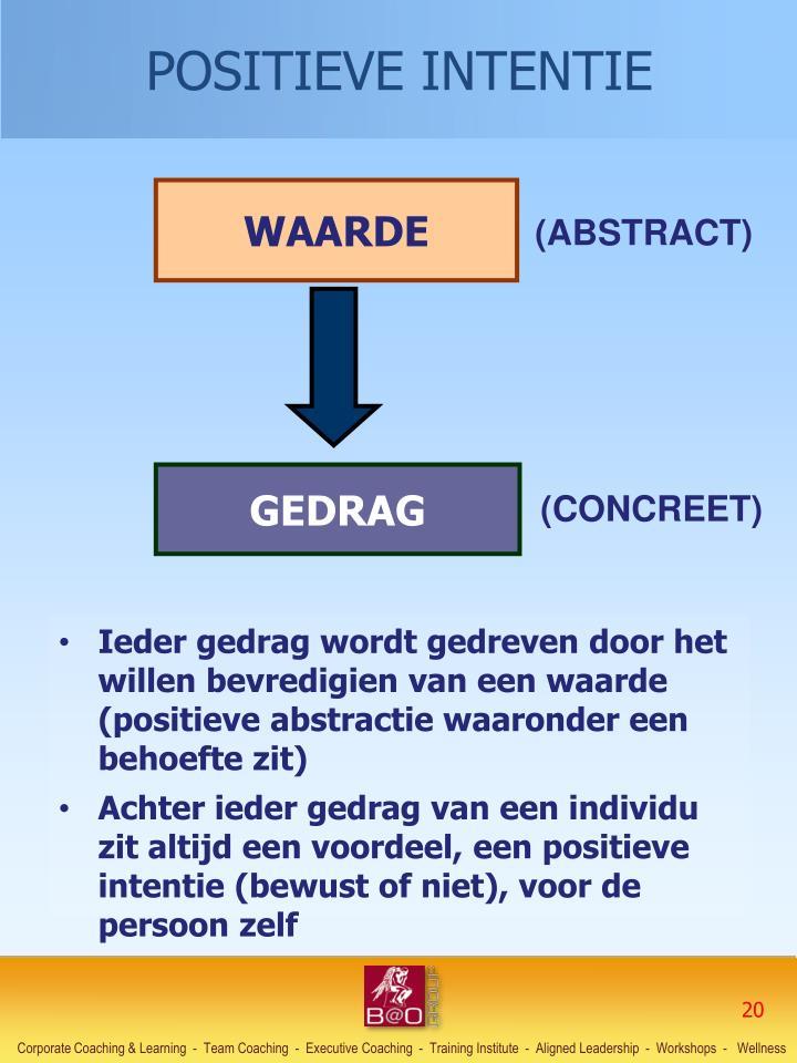 Ieder gedrag wordt gedreven door het willen bevredigien van een waarde (positieve abstractie waaronder een behoefte zit)