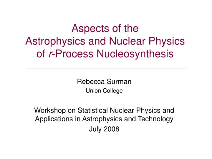 Aspects of the astrophysics and nuclear physics of r process nucleosynthesis