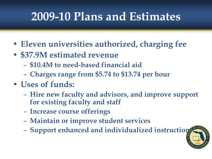 2009-10 Plans and Estimates