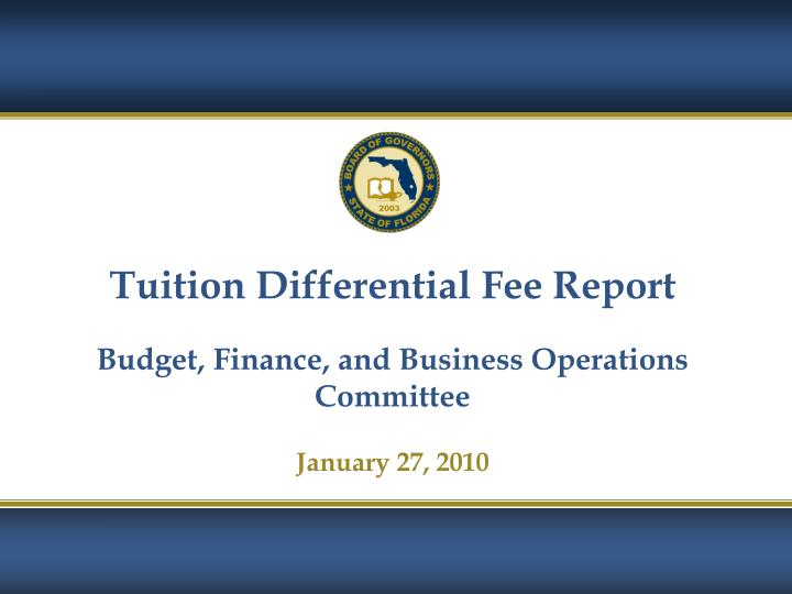 Tuition Differential Fee Report