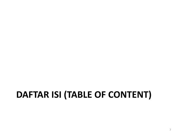 DAFTAR ISI (TABLE OF CONTENT)