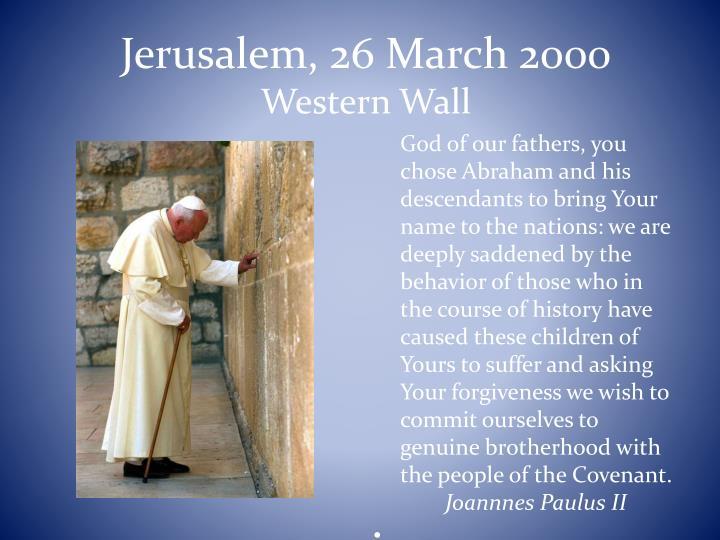 Jerusalem, 26 March 2000