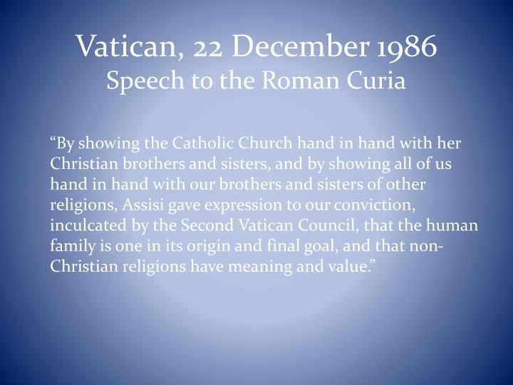 Vatican, 22 December 1986