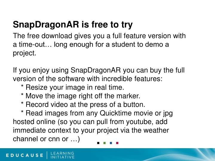 SnapDragonAR is free to try