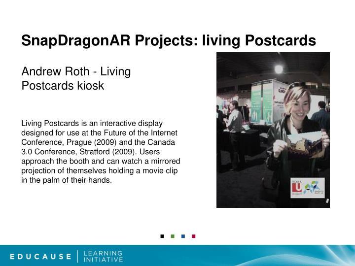 SnapDragonAR Projects: living Postcards