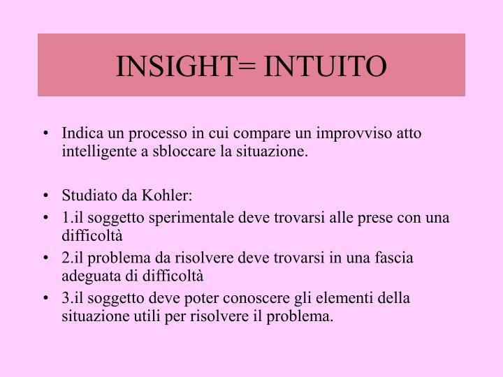 INSIGHT= INTUITO