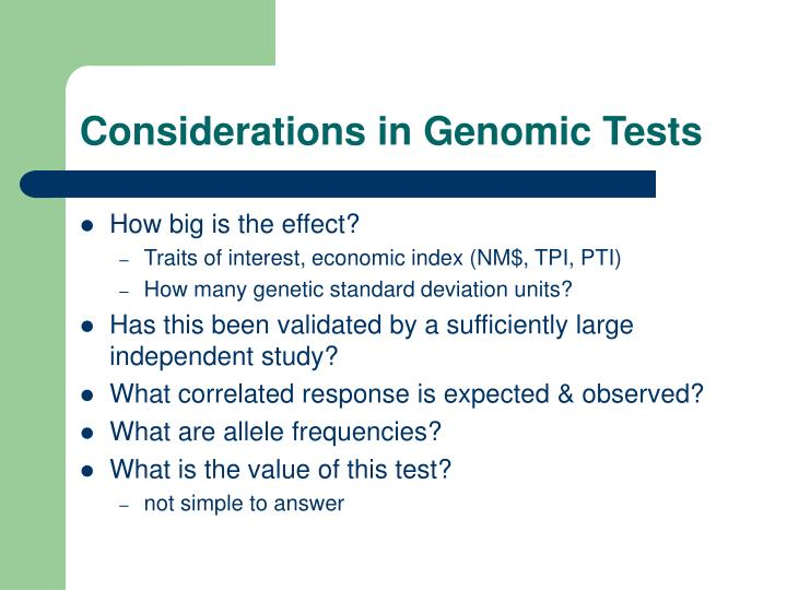 Considerations in Genomic Tests