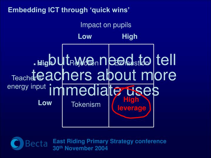 Embedding ICT through 'quick wins'