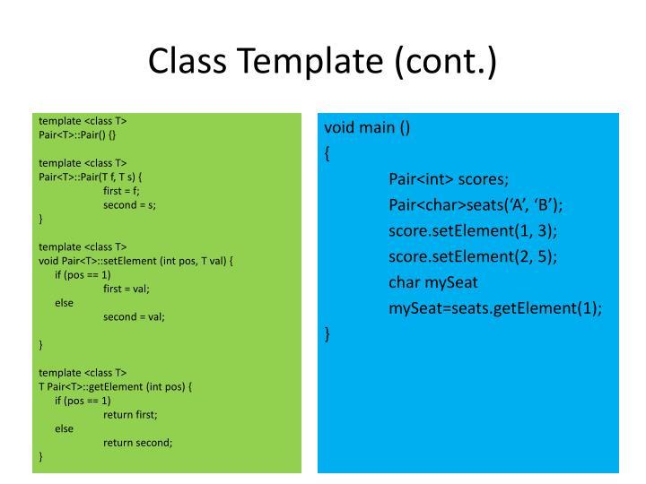 Class Template (cont.)