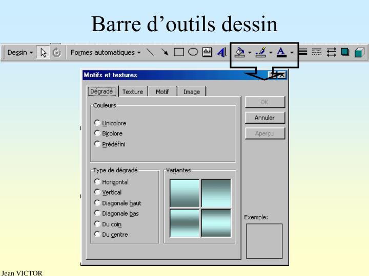 Barre d'outils dessin