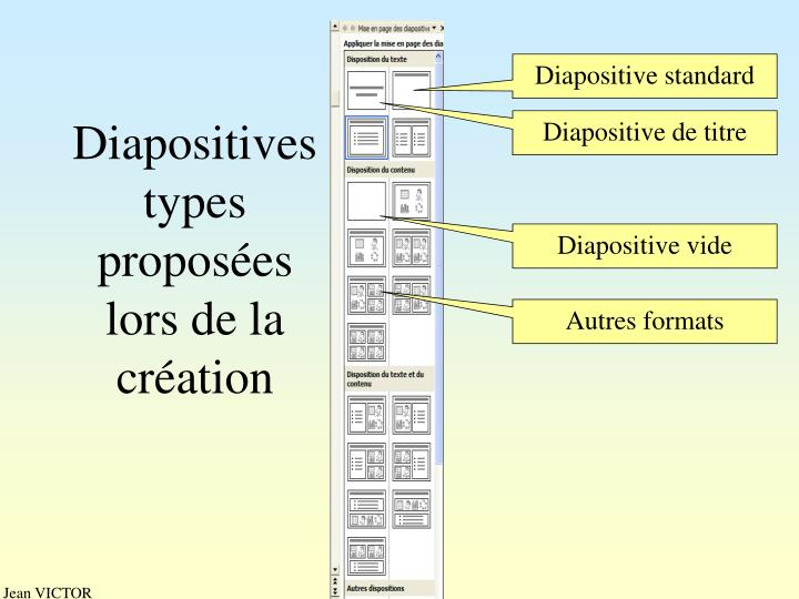 Diapositives types