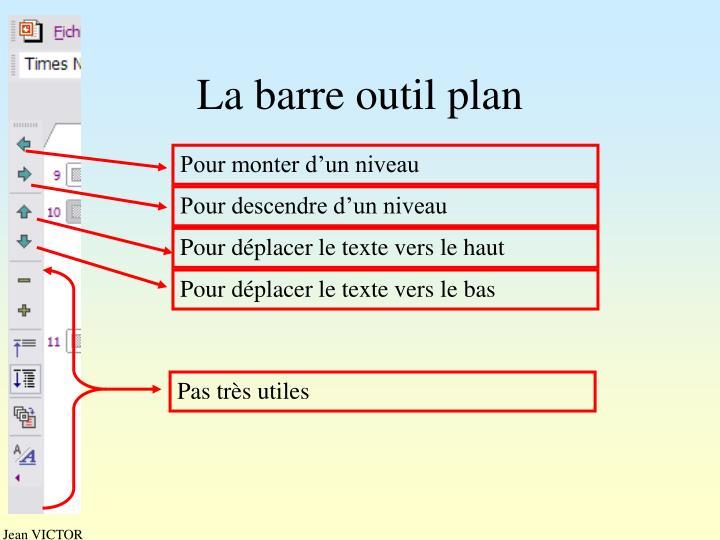 La barre outil plan