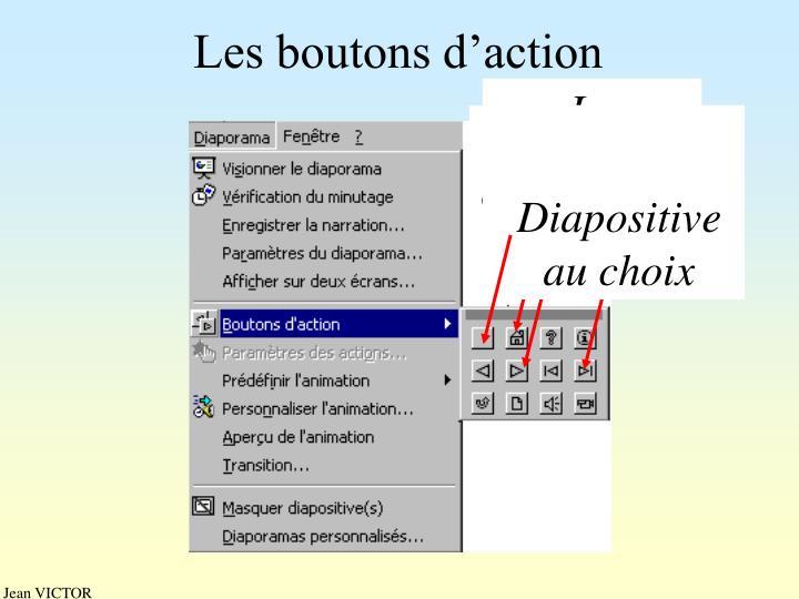 Les boutons d'action