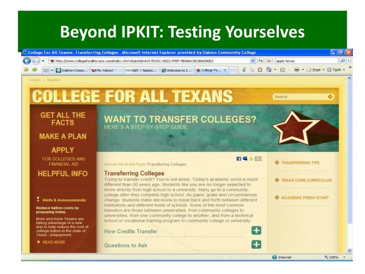 Beyond IPKIT: Testing Yourselves