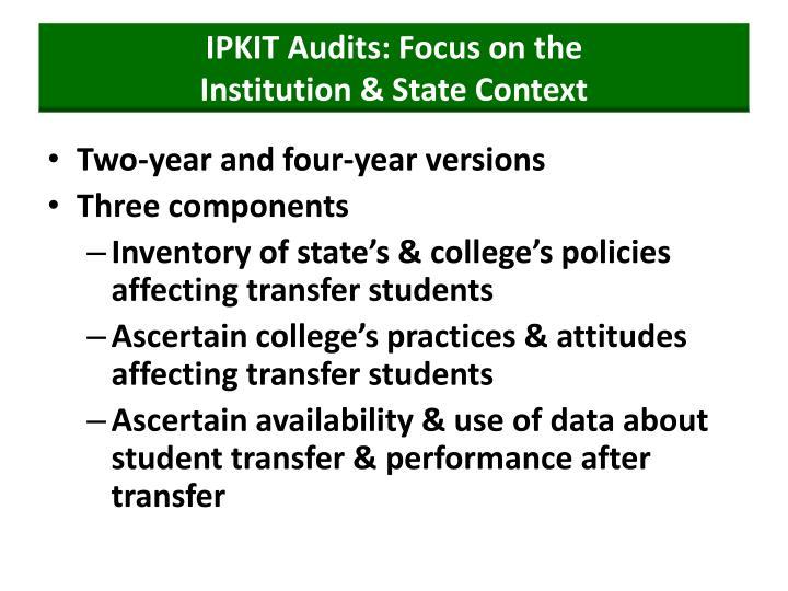 IPKIT Audits: Focus on the