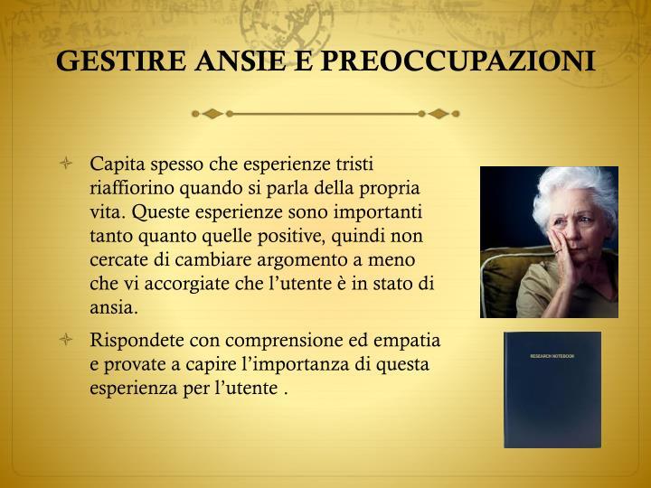 GESTIRE ANSIE E PREOCCUPAZIONI