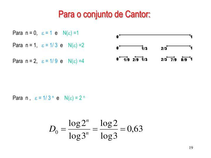 Para o conjunto de Cantor: