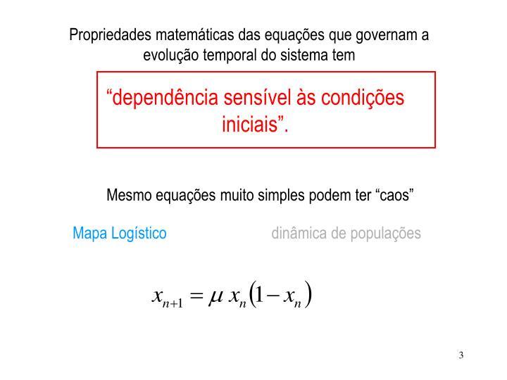 Propriedades matemáticas das equações que governam a evolução temporal do sistema tem