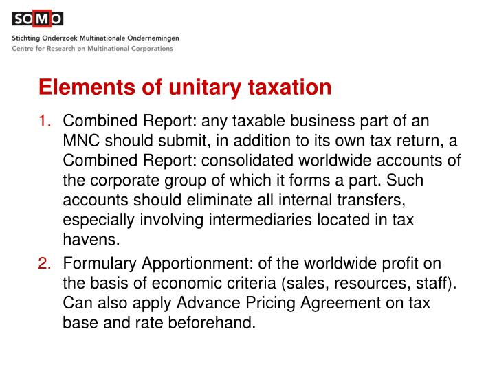 Elements of unitary taxation