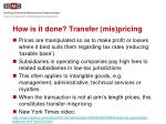 how is it done transfer mis pricing