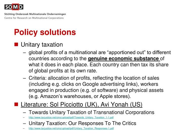 Policy solutions