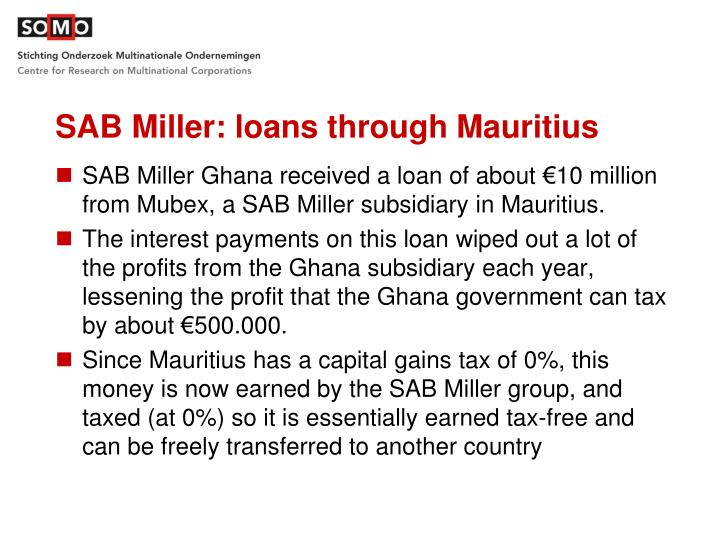 SAB Miller: loans through Mauritius