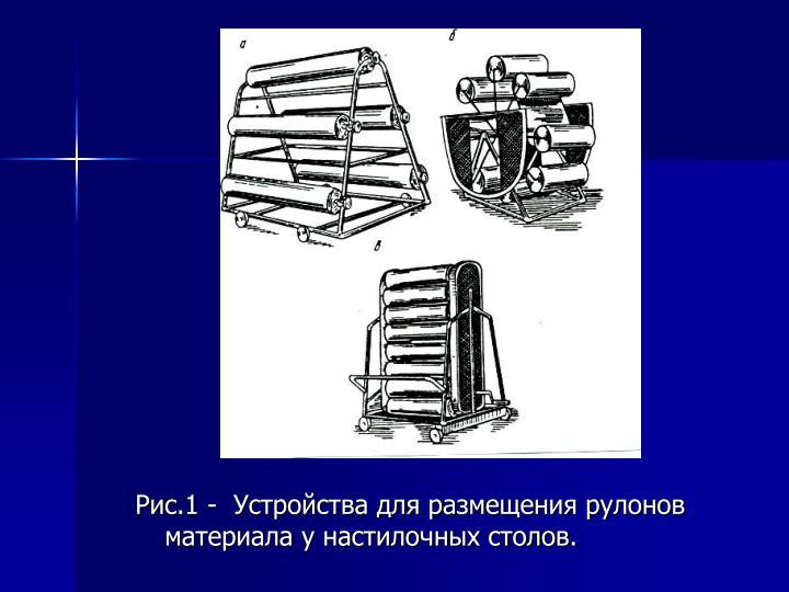 Рис.1 -  Устройства для размещения рулонов материала у настилочных столов.