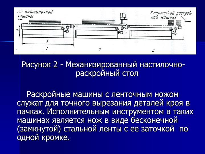 Рисунок 2 - Механизированный настилочно-раскройный стол