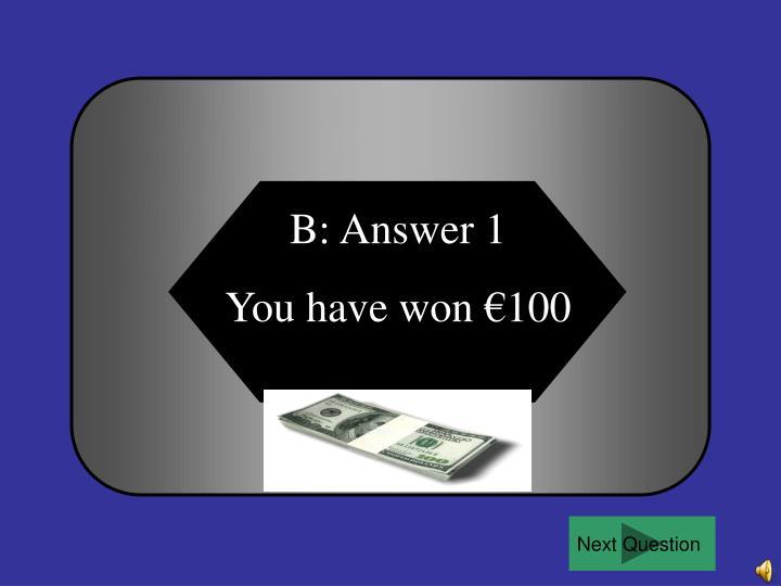 B: Answer 1