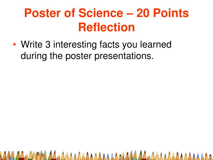 Poster of science 20 points reflection