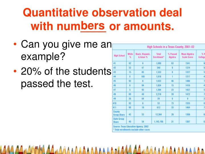 Quantitative observation deal with num____ or amounts.