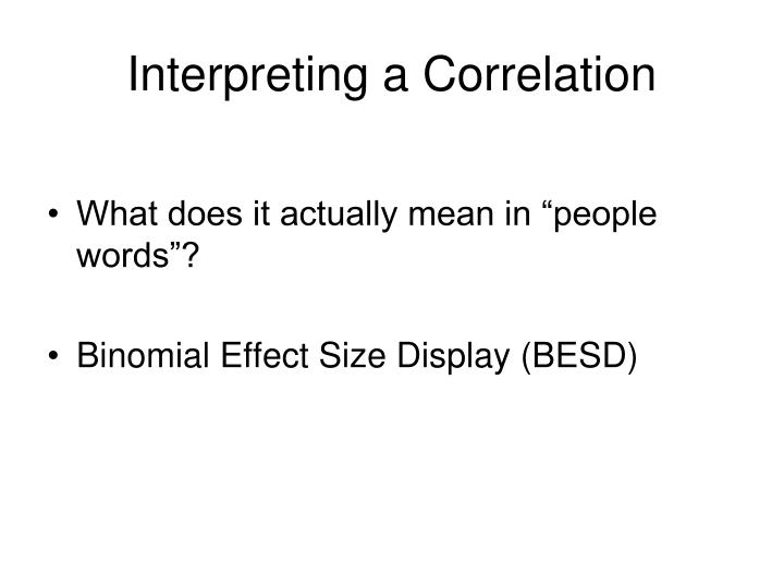 Interpreting a Correlation