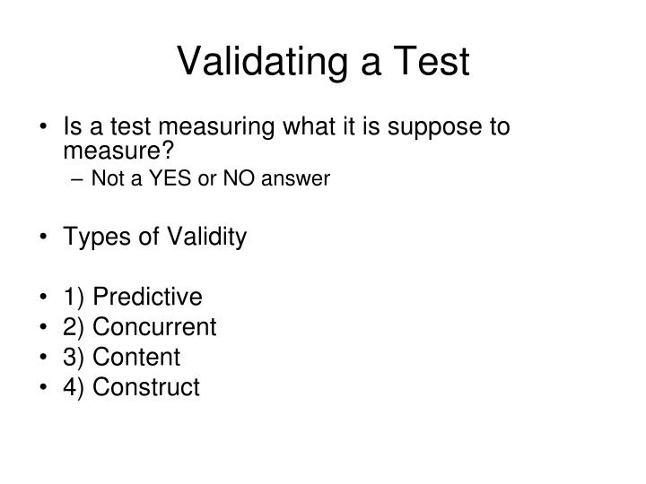 Validating a Test