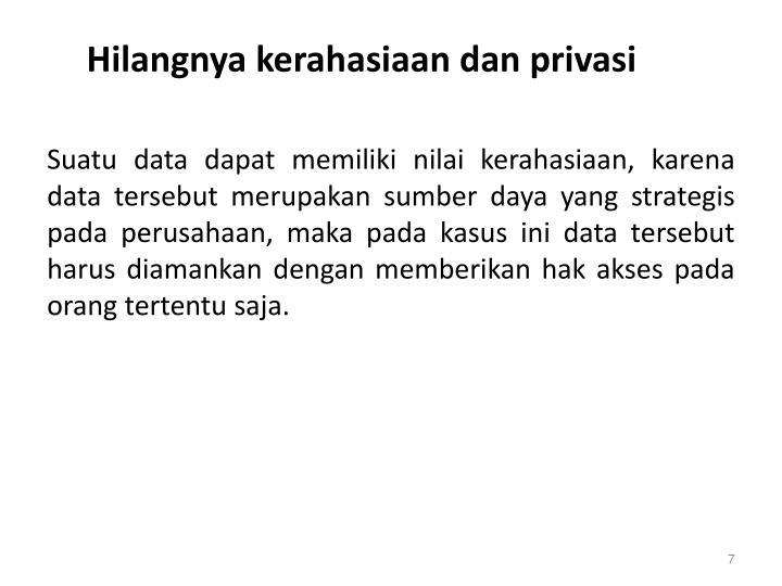 Hilangnya kerahasiaan dan privasi