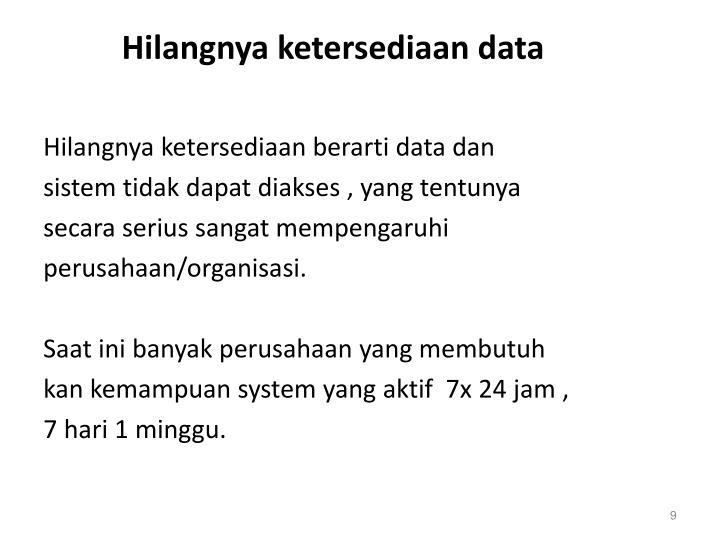 Hilangnya ketersediaan data