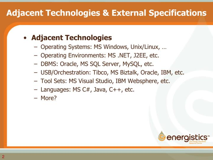 Adjacent technologies external specifications