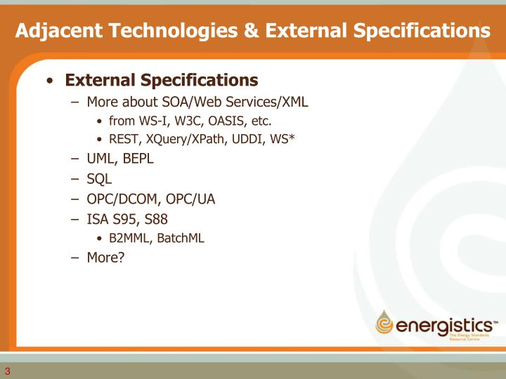 Adjacent technologies external specifications1