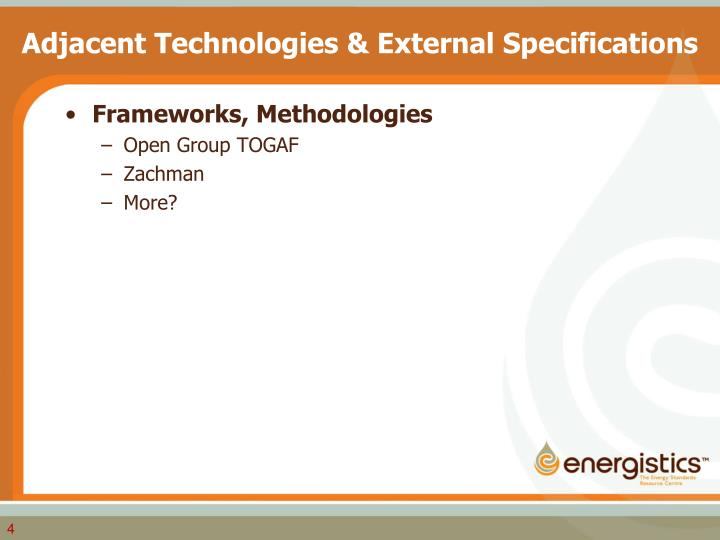 Adjacent Technologies & External Specifications