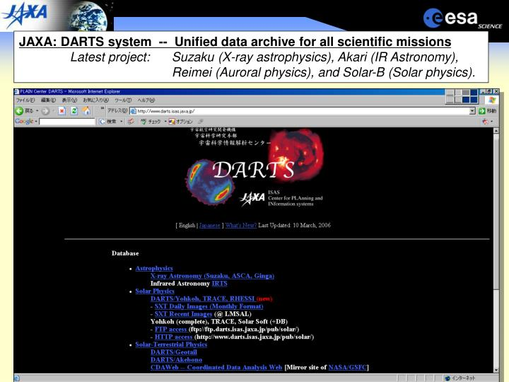 JAXA: DARTS system  --  Unified data archive for all scientific missions