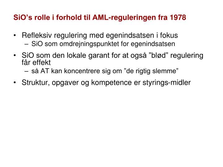 SiO's rolle i forhold til AML-reguleringen fra 1978