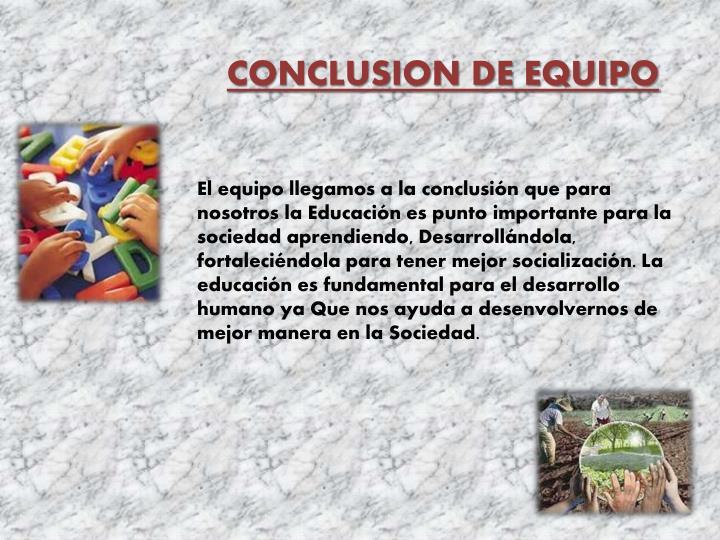 CONCLUSION DE EQUIPO