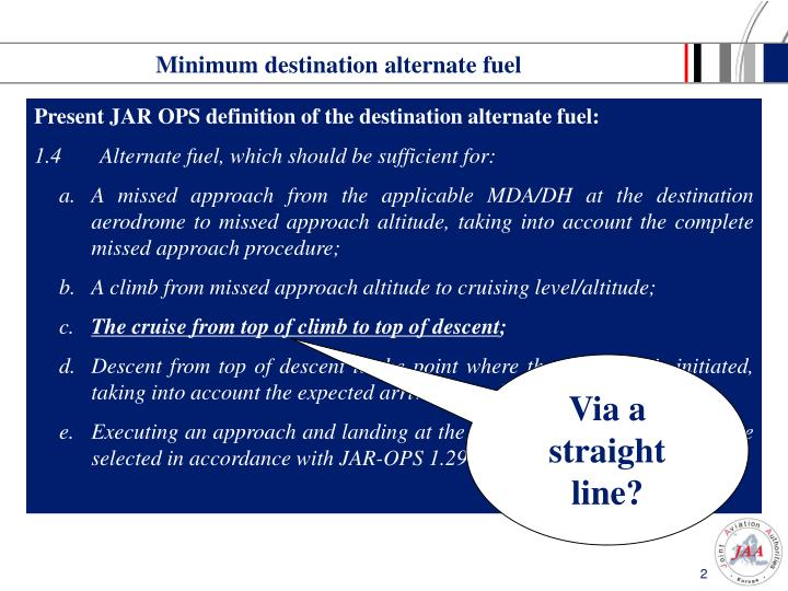 Minimum destination alternate fuel