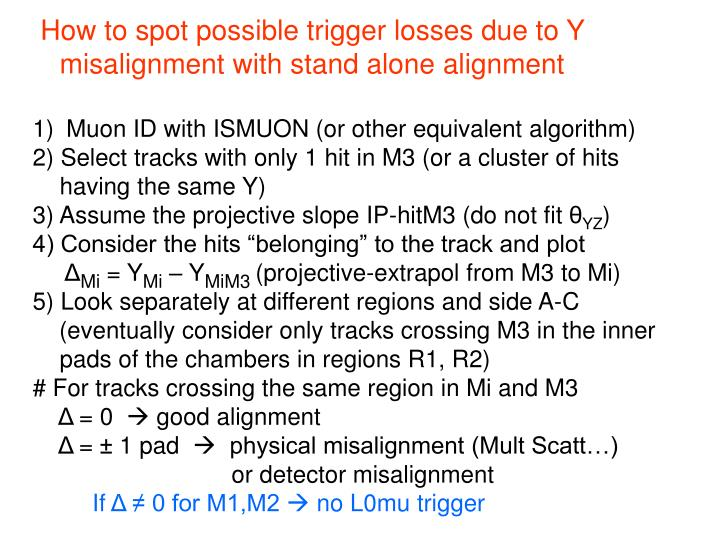 How to spot possible trigger losses due to Y misalignment with stand alone alignment