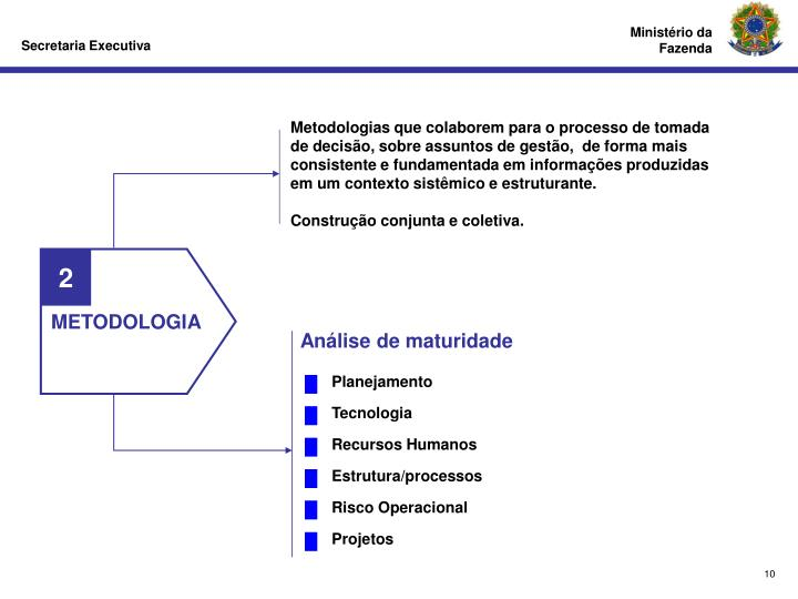 Metodologias que colaborem para o processo de tomada de decisão, sobre assuntos de gestão,  de forma mais consistente e fundamentada em informações produzidas em um contexto sistêmico e estruturante.